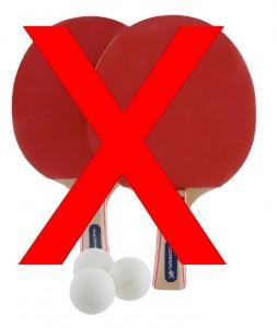 Gebruik niet de gratis batjes van je tafeltennis set